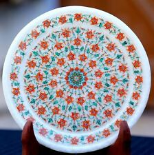 "12"" Antique art Marble-Round-Serving Plate tray makrana Mosaic Inlay Decor"
