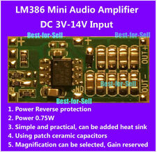 DC 3V~12V 3.7V 5V LM386 Audio Power Amplifier Board Micro Mini AMP Module 750mW