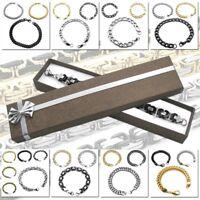 Armband Armkette Edelstahl Königskette Figaro Kette Silbern Schwarz Etui Herren