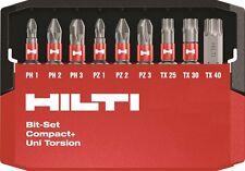 HILTI Drill Bit Set: PH1, PH2, PH3, PZ1, PZ2, PZ3, TX25, TX30, TX40