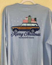 Vineyard Vines Mens Woody & Gifts Christmas Pocket Tee Blue T-shirt Medium
