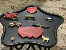 Lot of 9 Pins Brooches, Heinz Pickle, Bee Hive, Donkey, Bar Pin, Some Vintage