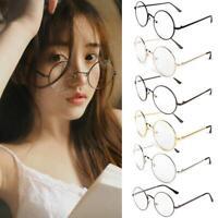 Vintage Mode Damen Herren Brille ohne Sehstärke Metall Nickelbrille Nerd
