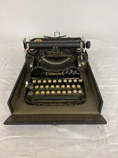 1910 Corona No.3 Portable Model Folding Typewriter w/ Original Antique Wood Case