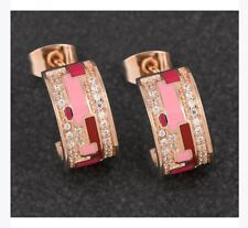 Equilibrium Hand Painted Pink Rose Gold Plated CZ Pave Ladies Earrings