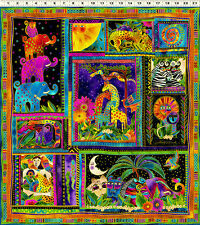 "Laurel Burch Mythical Jungle Panel 100% COTTON 22"" X 23.5"" for Quilt Center"