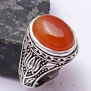 Carnelian Ethnic Handmade Ring Jewelry US Size-10 AR 38714