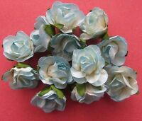 20 Paper Flowers Blue with Green Leaf 25mm - Card Making & Scrapbooking NEW