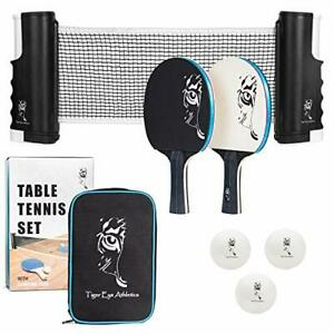 Portable Ping Pong Net and Paddles Set – Table Tennis with Retractable Net and