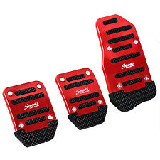 3 Pcs Practical Black Red Metal Plastic Nonslip Pedal Cover Set for Car BTSZUK