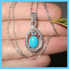 Sleeping Beauty Turquoise  Blue Topaz Diamond Necklace Pendant S Silver 925
