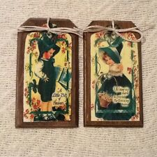 5 Wooden Handcrafted St. Patrick's Day Ornaments/Irish Hang Tags Set1d