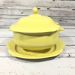 Vintage Federalist Ironstone Buttercup Yellow Soup Tureen Under Plate No Ladle