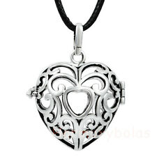 Heart Harmony Ball Lockets Silver Pendant Cage for 20mm ball guardian angel Cage