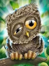 DROOPY OWL MOSAIC DIAMOND PAINTING PAINT BY NUMBERS KIT 5D CROSS STITCH