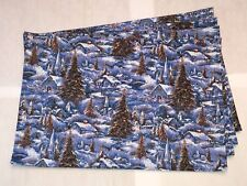 Christmas Holiday Snow Trees Church House Star Silver Glitter Set of 4 Placemat