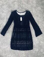 NWT Max Studio Specialty Products SZ L Black Layered Lace Mesh Dress $139