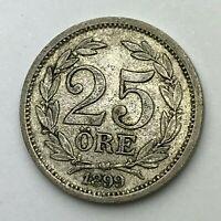 Dated : 1899 - Silver Coin - Sweden - 25 ore - Oscar II