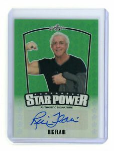 2015 Leaf Star Power Ric Flair Wrestling Auto Autograph Green /10 Card
