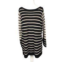 Wallis Petite Size L Eur 46 Brown & Black Striped Long Sleeve Jumper Dress