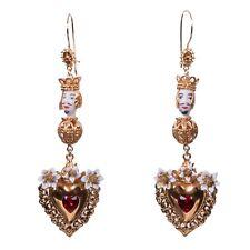 Dolce & Gabbana Runway Sicily Testa Di Moro Corazón Cristales Oro Pendientes