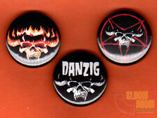 "Set of three 1"" Danzig pins buttons metal horror punk"