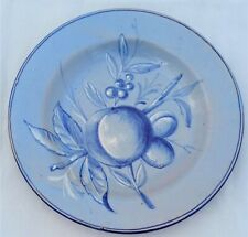 Antique Italian Cantigalli Hand Painted Blue Faience Plate Fruit Branch c 1900