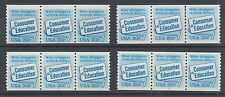 US Sc 2005 MNH. 1982 20c Consumer Education, Coil Strips w/ Plate #s 1-4 cplt