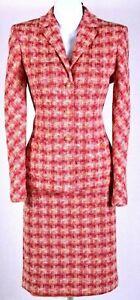 ST.JOHN Women Suit Knit Orange Red Yellow Tweed Jacket & Skirt Sz 10