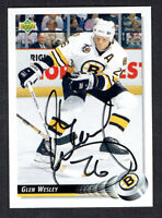 Glen Wesley #244 signed autograph auto 1992-93 Upper Deck Hockey Card