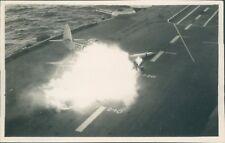 More details for  hawker sea fury crash hms illustrious 1953 original 5 x 3 inch back stamp