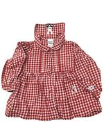 Absorba Girls Dress Size 24m Bunny Back Bib Gingham Red White Pockets