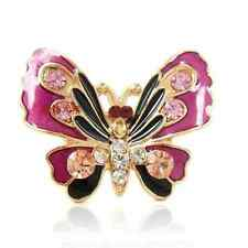 Gold Pink Black Animal Insect Butterfly Crystal Jewellery Adjustable Ring