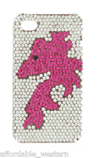 iPhone 4 4S Cover Case ~ HORSE HEAD ~ Pink Crystals BLING Western Cowgirl Cell