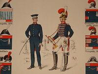 Litho UNIFORME RESTAURATION MAISON du ROI GARDES du CORPS LOUIS XVIII BOURBONS