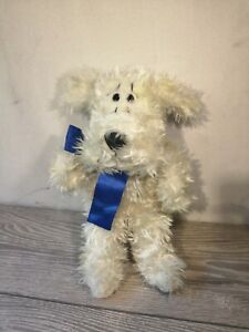 RUSS BERRIE  CURLY WHITE DOG WITH SCARF PUPPET PLUSH SOFT TOY  STAINED