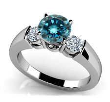 1.65 tcw Past Present Future 3 Stone Blue and White Diamond Ring (Best On Ebay)