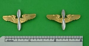 Pair WWII Army Air Force Officer's Branch Collar Insignia Winged Propeller Pins
