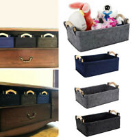 Felt Storage Boxes Basket Bin w/ Handle Home Bedroom Closet Clothing Desk Toy