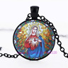Christian Virgin Mary Photo Tibet Silver Cabochon Glass Pendant Chain Necklace