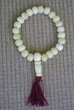 Prayer Bead Bracelet Mala for Dharma Natural White Bone w/ Maroon Tassel