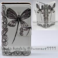 For Samsung Galaxy Note Series - Dragonfly Print Wallet Mobile Phone Case Cover