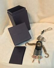 New PRADA ROBOT HOOK 45 Silver Gold Tone Metal Keychain Bag Charm