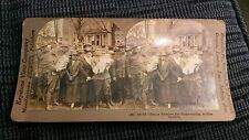 Happy reunion for home-coming soldier fathers stereoview card keystone wwI