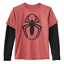 4 5 6 SPIDERMAN BOYS LONG SLEEVE T SHIRT RED AND BLUE WITH SPIDER SIZES  3