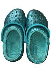 Crocs Kids' Classic Glitter Lined Clog, Teal Blue Glitter, Size C12