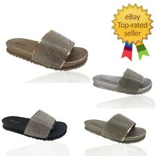 Kids Girls Diamante Pom Sliders Flats Shoes Slippers Mules Rose Flip Flops Size