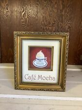 Cafe Mocha Gold Framed Coffee Decor Sign