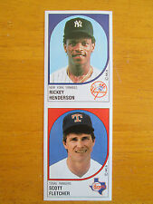 RARE! 1988 Panini Sticker UNCUT TEST PROOF - Rickey Henderson - Scott Fletcher