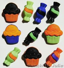HALLOWEEN TREATS Cupcake Muffin Sweet Candy Trick or Treat Novelty Craft Buttons